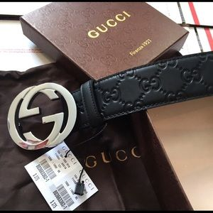 Other - Gucci black leather guccisima silver gg belt